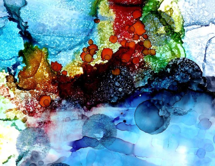 abstract art piece created using alcohol inks