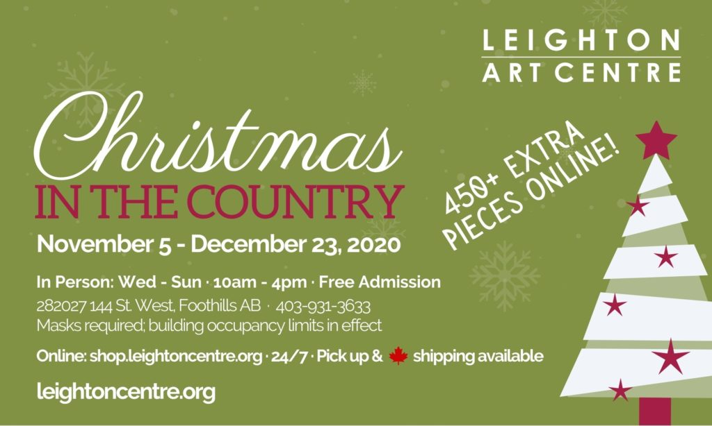 poster summarizing the details of the 2020 Christmas in the Country Art Sale at Leighton Art Centre