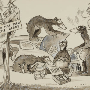 """A.C. Leighton """"Do Not Feed the Bears"""" Watercolour and Ink, N.D."""