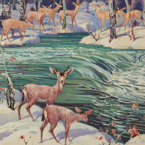 "A.C. Leighton ""Deer Notes"" Gouache, N.D."
