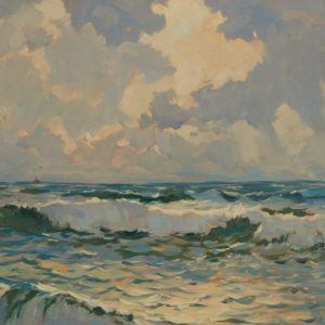 """A.C. Leighton """"Coast of the Pacific"""" Oil, N.D."""