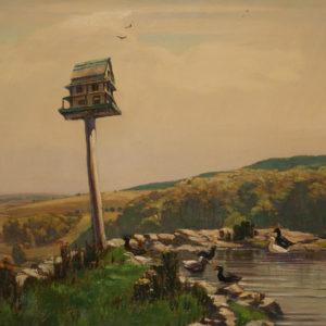 """A.C. Leighton """"Birdhouse"""" Oil, N.D."""