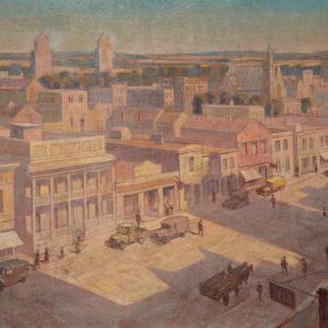 """A.C. Leighton """"City Buildings"""" Oil, c.1932."""
