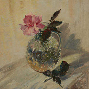 """A.C. Leighton """"Glass and Rose"""" Oil, N.D."""