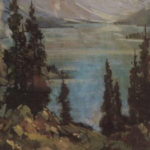 """A.C. Leighton """"Moraine Lake"""" Oil, N.D."""