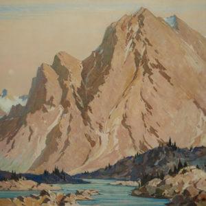 """A.C. Leighton """"Mount Skoki"""" Oil, 1935."""