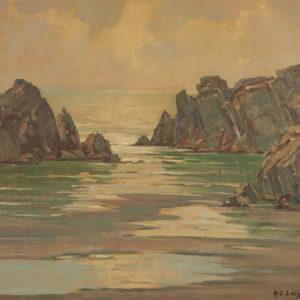 "A.C. Leighton ""The Oregon Coast"" Oil, 1958."