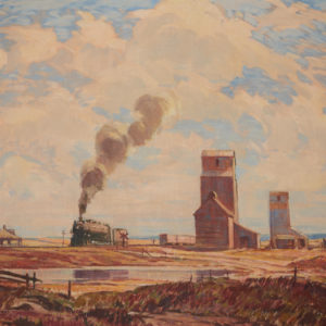 """A.C. Leighton """"Train and Elevator"""" Oil, N.D."""