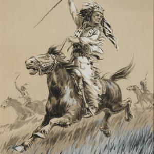 "A.C. Leighton ""Running Eagle"" Gouache, N.D."