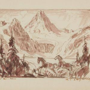 """A.C. Leighton """"Mt Assiniboine"""" Conte, N.D."""