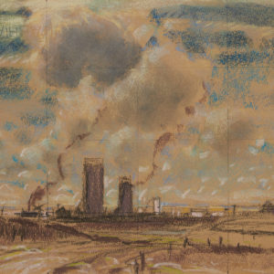 """A.C. Leighton """"Sketch for Train and Elevator, Dewinton"""" Pastel, N.D."""