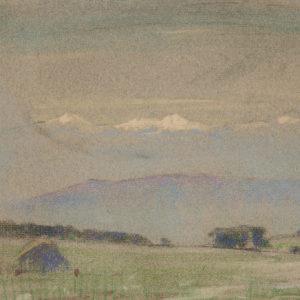 """A.C. Leighton """"Snow Capped Peaks"""" Pastel, N.D."""
