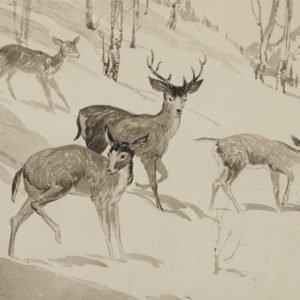 "A.C. Leighton ""Deer"" Watercolour, N.D."