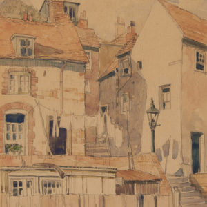 "A.C. Leighton ""English Street"" Watercolour, N.D."