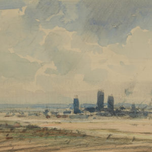"A.C. Leighton ""Prairie Elevators"" Watercolour, N.D."