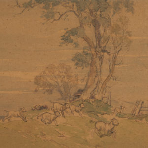 "A.C. Leighton ""Sheep Country"" Watercolour, N.D."