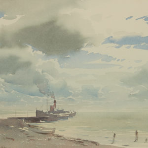 "A.C. Leighton ""Sky Study, Boat at Wharf"" Watercolour, N.D."