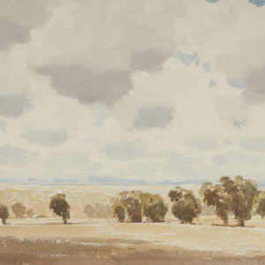 "A.C. Leighton ""The Distant Hills"" Watercolour. N.D."