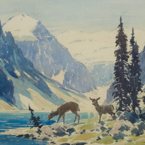 "A.C. Leighton ""Two Deer"" Watercolour, N.D."