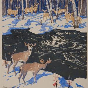 """Barleigh """"Deer Winter"""" Block Print, N.D."""