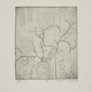 """Barbara Leighton """"Japan 1"""" Etching, N.D."""