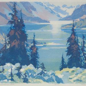 "Barleigh ""Moraine Lake"" Block Print, N.D."