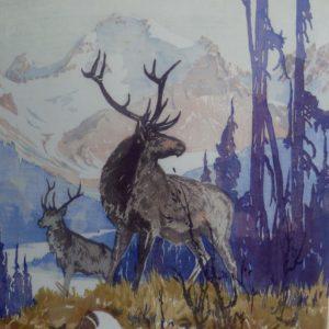 """Barleigh """"Victory Elk"""" Block Print, N.D."""