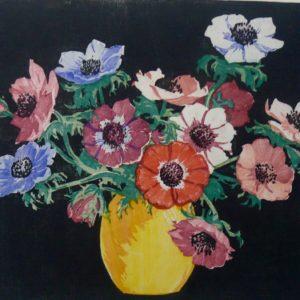 "Barleigh ""Anemones"" Blockprint, N.D."