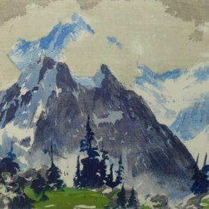 """Barleigh """"Lunette Peak"""" Blockprint, N.D."""