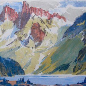 """Barleigh """"The Towers, Mt. Assiniboine"""" Blockprint, N.D."""
