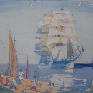 "Barleigh ""Untitled Ship Near Port"" Blockprint, N.D."