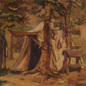 "Marion Nicoll ""Bighorn Camp"" Oil, 1933"