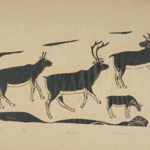 "Shootuk ""Caribou"" Stonecut Print, N.D."
