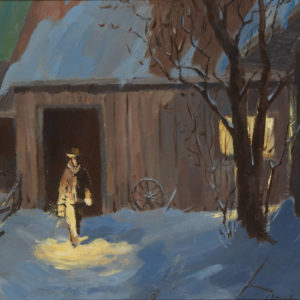 "Doug Stephens ""Winter Chores"" Oil, N.D."