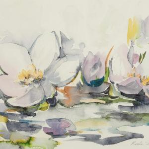 """Merle Stewart """"Water Lilies"""" Watercolour, N.D."""
